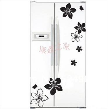 Free shipping! Wholesale wall/ fridge/closet/glass living room flowers stickers red, white, black, pruple,gray.(China (Mainland))