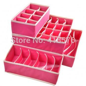 4PCS Storage Boxes For Ties Socks Shorts Bra Underwear Divider Drawer Lidded Closet Home Organizer Rose Beige(China (Mainland))
