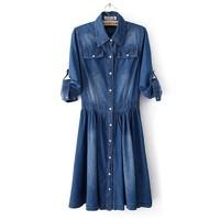 Fashion summer slim jeans denim dress women's thin blue solid color xl xxl XXXL half three quarter sleeve plus size 12062718