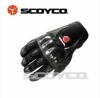 Free shipping Genuine SCOYCO motorcycle gloves / bicycle racing gloves red black blue carbon fiber