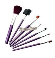 Professional 7pcs Beauty Makeup Brush Set with Case Cosmetic Brushes Eye Face Kit Purple Free Shipping SV14 4771