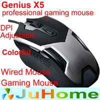 1 piece, 6D professional gaming mouse, computer usb wired led changeable colorful, gamer mouse, Genius X5