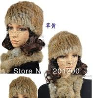 Chopop Fur Knitted rabbit fur hat cap fur headgear headdress popular Beanies hat 9 colors OEM/ Wholesale