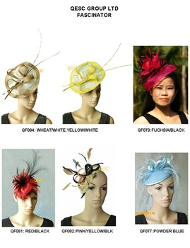 Sinamay Fascinator/Hat for formal occasion.FREE SHIPPING.MIX STYLES AND COLORS.