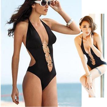 Hot Sexy Halter strap Deep V Swimsuit Swimwear Bikini  for Women bathing Sexy Monokini YY098