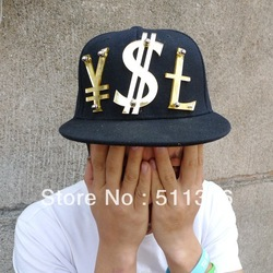 Black flat bill hat hat adjustable snap back mirrored acrylic RMB USD L letters hand make(China (Mainland))