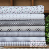 Gray 7 Assorted Pre-Cut Twill Cotton Quality Quilt Fabric Fat Quarter Tissue Bundle, Charm Sewing Handmade Textile Cloth 45x45cm