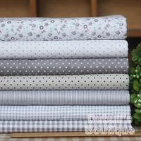 Gray 7 Assorted Pre-Cut Twill Cotton Quality Quilt Fabric Fat Quarter Tissue Bundle, Charm Sewing Handmade Textile Cloth 45x45cm