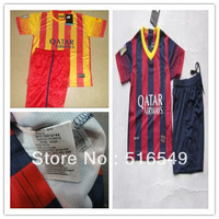 2013-14 10# Messi kids away yellow soccer football jerseys + shorts kits, children soccer Uniforms,size:16-28 10set/lot
