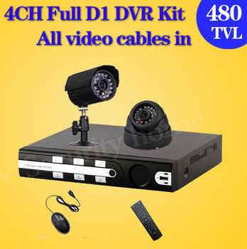 Free shipping 4CH CCTV surveillance DVR Kit 480TVL IR weatherproof Camera,Mobile Phone Monitor 4ch D1 DVR Recorder CCTV Systems