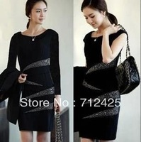 Free Shipping 2668 factory direct handmade beaded career Slim was thin black dress XXXL large size women
