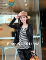 Free shipping! Women in South Korea fashion PU leather jacket set auger slim coat drop shipping,004