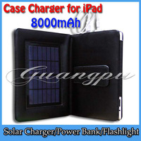 New High Capacity 8000mAh 2 in 1 PU Leather rechargeable solar charger case for ipad PC Tablet Hotselling