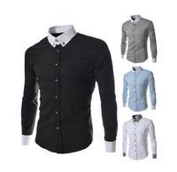 2014 new fashion sportsmen contrast color men's long-sleeved shirts,solid casual slim fit shirts for men,men's camisa,M-XXL,8678
