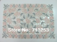 No.557-P High quality embroidered table placemat fabric soil is pink for home hotel wedding (30*45cm  )free shipping