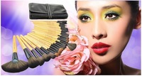 Famous Brand 32pcs Professional Cosmetic Make up Brush Kit Makeup Brushes Tools Set + Black Leather Case Free Shipping