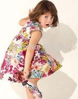2014 New Girls Autumn & Winter Dress O-neck Pleated Hem Brand Design Vintage Oil Painting Printed Dress for Girls