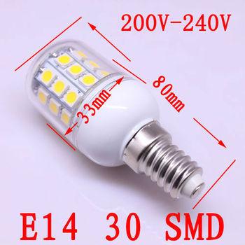 5X Wholesale E14 200v-240v  5050 30 LED 5W  High Power Light White/ Warm white bedroom light spot lamp Allimium body Long life