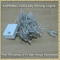 Free Shipping 50pcs/lot 8 Modes Display Colorful 100 LED 10m led String Light for Holiday Party Wedding led christmas lighting