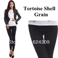 Free shipping Winter Tortoise Shell Grain False through meat Warm Pantyhose Double Plus velvet Thicken Terry Hollow Leggings