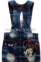 Free shipping 5pcs/lot Baby Girls Cartoon Minnie mouse denim overalls Cute dress kids fashion summer overalls dresses
