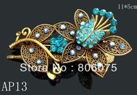 Wholesale Hot Sale vintage crystal rhinestone alloy flower two teeth hair clips Hair Accessories 12pcs/lot Mixed colors  AP13
