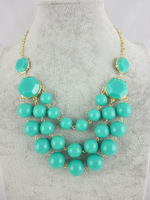 Free shipping hot sale in 2013 turquoise drop pendant necklace turquoise stone necklace bubble statement necklace