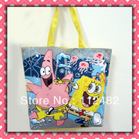 Free shipping Cartoon SpongeBob SquarePants shopping  bag TOTE bag