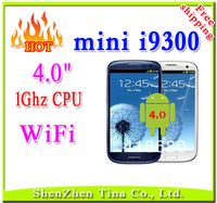 HOT 4 inch Capacitive screen mini i9300 WIFI smart phone 1GHz CPU Android 4.0 Dual SIM cheap android phone+3 gift