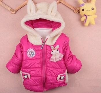 Winter Autumn Children Kids baby girl Coat Cute Rabbit bunny Overcoat hooded coat wear Clothing outwear Free Shipping