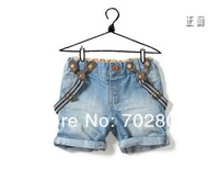 free shipping summer children's clothing shorts male female  denim suspenders shorts baby bib pants Boys denim shorts Jeans