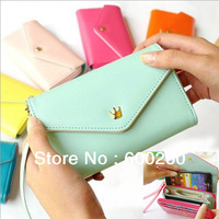Free Shipping Women's Multi Propose envelope Wallet Purse handbag for Galaxy S2 S3 iphone 4 4S 5 Case,more colors#5337