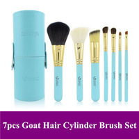 Hot Emily 7pcs Blue Cosmetic Brushes Set, Goat hair Brush Kit with PU Canister, freee shipping