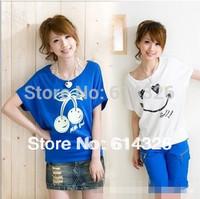 2014 New Fashion Batwing Sleeve Top For Women. Plus Size XXXL XXXXL Jersy Silk T-shirts Tees Free Shipping