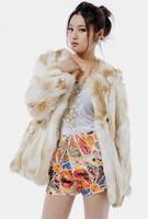 Free shipping 2014 winter 100% real natural rabbit fur coat patchwork medium-long fur coat TP2