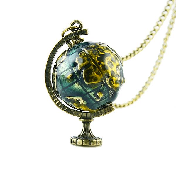Hot Helling Vintage Jewelry Globe Telescope Alloy Necklace Pendants Necklace Women 2014(China (Mainland))