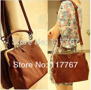 New Fashion Europe Brown Retro Ladies Shoulder Purse Handbag Totes Bag Free Shipping 640215