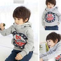 Free Shipping Kids Children Hoodies Long Sleeve Hoody Boys Grey Jacket Tops Children Boys Coat Outerwear Baby Sweatshirt KJ002