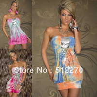 Free shipping! 2013 New  fashion Sexy Lady Mixed Color Sequined dresses Contrast  Color Print Clubwear Nighty Chemise