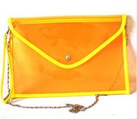 Freeshipping 2013 women's summer handbag cute jelly envelope clutch bag day color block fashion vintage one shoulder
