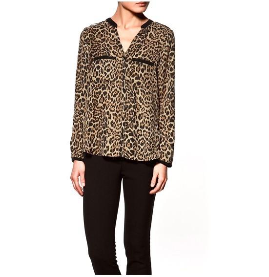 Free Shipping 2013 New Women's V-neck Long-sleeved Chiffon Shirt Retro Silk Cotton Leopard Print Blouses Loose Size Top CS30(China (Mainland))