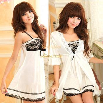 New arrival Sexy Women Twinset Lace Pajama Set Strap Sleep Night Dress Nightwear Sleepwear White free shipping S10901