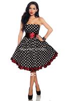 Black White Polka Dot Satin Dress with Sash for Girls/ladies TEA-LENGTH US 0-14 ALL SIZES XS S M L XL XXL 3XL 4XL