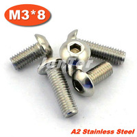 100pcs/lot ISO7380 M3*8 Stainless Steel A2 Hexagon Socket Button Head Screws