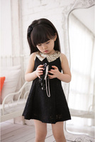 Retail new 2015 summer cotton girls dress princess children dress Lace Splice Sequined collar Free Shipping