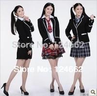 free shipping japanese school uniforms girls plaid skirts cosplay costume set for girls uniform  work wear cotton shirt short