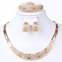 Free shipping fashion jewelry set women 18k gold plated leaf necklace bracelet earrings set jewelry gift jewellry set