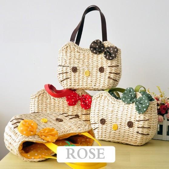 2013 new arrival !! 6 colors hello kitty straw bag fashion woven handbag women totes beach bags Free shipping(China (Mainland))