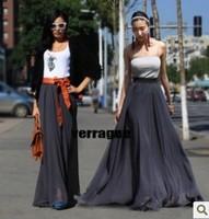Summer 10 colors Fashion women's Chiffon full length skirt vintage bohemian long skirts high waist maxi skirts length 90-110cm