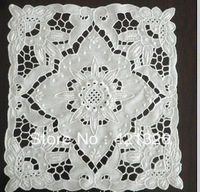 "100% Cotton handmade  embroidery placemat  Doily Tablecloth(10 X 10"")  100% cotton Hollow white color"